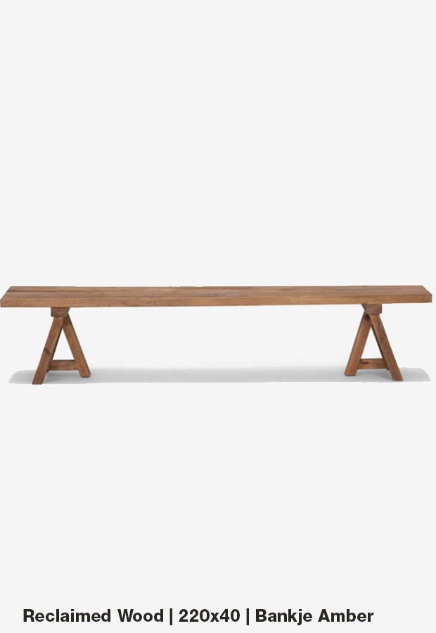 Bankje 'Amber' | 220×40 | Reclaimed wood